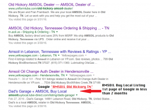 AMSOIL Buy Local 1st page of google